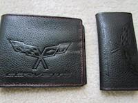 2005-2011 C6 Corvette Genuine Leather Wallet/Key Chain Set